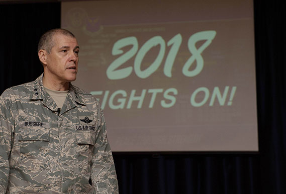 Eighth Air Force commander rallies Airmen at all call
