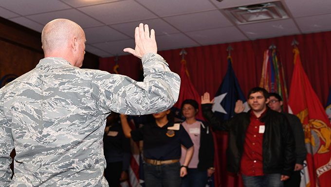 Recruits swear-in at Shreveport MEPS